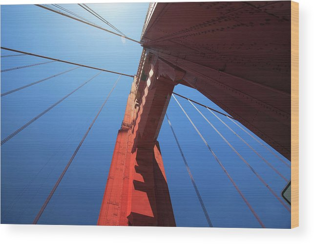 San Francisco Wood Print featuring the photograph Golden Gate Bridge Tower by Mortonphotographic