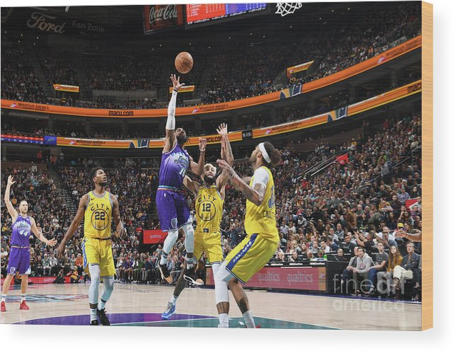 Nba Pro Basketball Wood Print featuring the photograph Golden State Warriors V Utah Jazz by Noah Graham