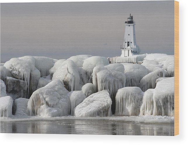 Water's Edge Wood Print featuring the photograph Great Lakes Lighthouse With Ice Covered by Jskiba