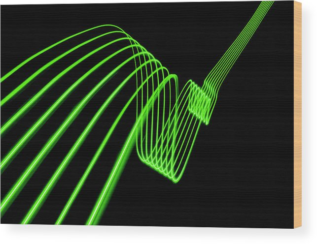 Laser Wood Print featuring the photograph Green Abstract Coloured Lights Trails by John Rensten