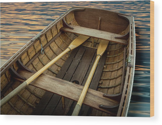 Handcrafted Wooden Rowboat With Oars Wood Print By Gary S Chapman