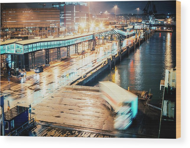 Industrial District Wood Print featuring the photograph Harbor Area by Peeterv