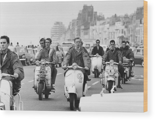People Wood Print featuring the photograph Hastings Mods by Terry Fincher