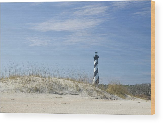 North Carolina Wood Print featuring the photograph Hatteras Lighthouse And The Dunes by Myhrcat