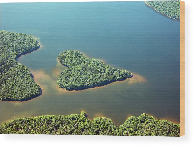 Outdoors Wood Print featuring the photograph Heart-shaped Island In Lake by Thomas Jackson