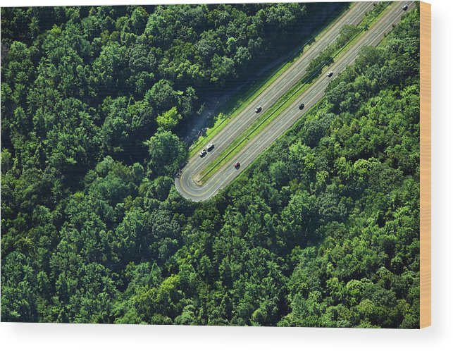 The End Wood Print featuring the photograph Highway U-turn In Forest by Thomas Jackson