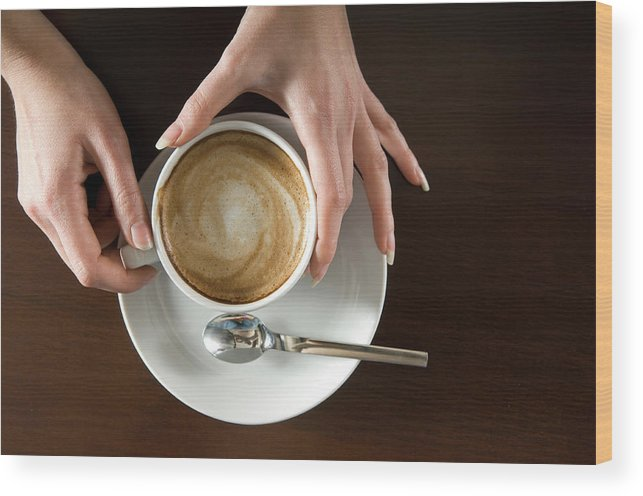 Spoon Wood Print featuring the photograph Holding Cappuccino by 1001nights