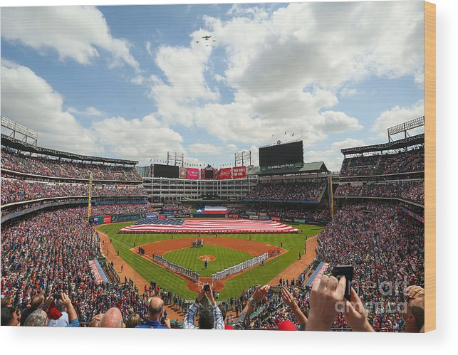 American League Baseball Wood Print featuring the photograph Houston Astros V Texas Rangers by Richard Rodriguez