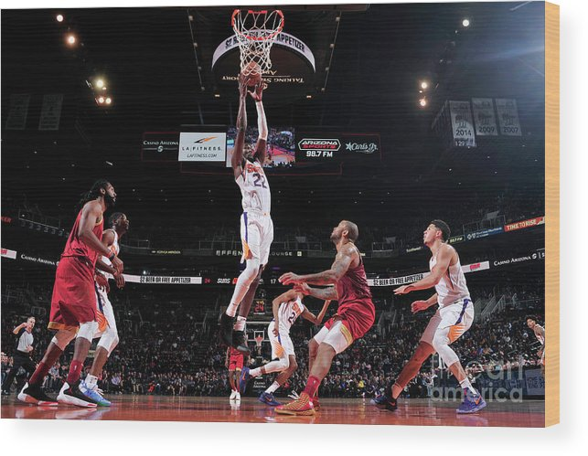 Nba Pro Basketball Wood Print featuring the photograph Houston Rockets V Phoenix Suns by Barry Gossage