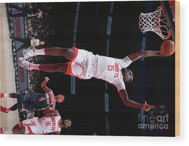 Nba Pro Basketball Wood Print featuring the photograph Houston Rockets V Washington Wizards by Ned Dishman