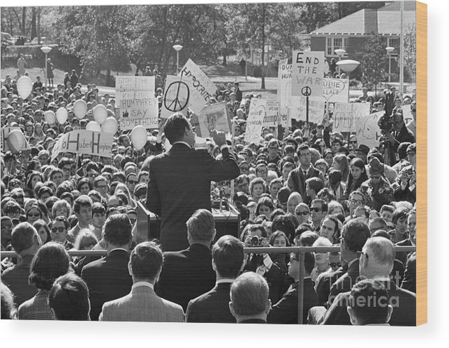 Crowd Of People Wood Print featuring the photograph Hubert Humphrey Speaking To Crowd by Bettmann