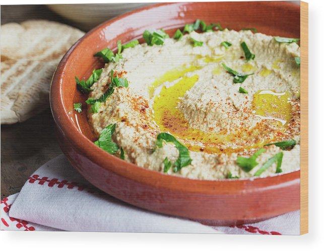 Dish Towel Wood Print featuring the photograph Hummus Mediterranean Style by Silvia Jansen
