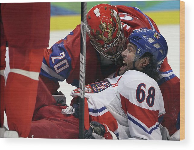 Rogers Arena Wood Print featuring the photograph Ice Hockey - Day 10 - Russia V Czech by Bruce Bennett