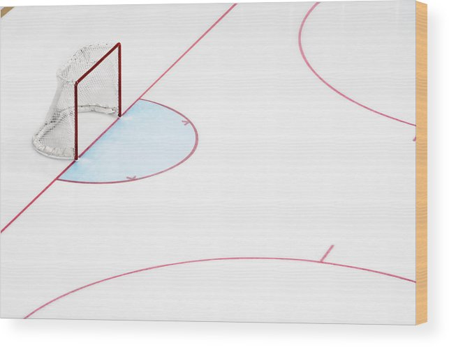 Sport Wood Print featuring the photograph Ice Hockey Goal Net And Empty Rink by David Madison