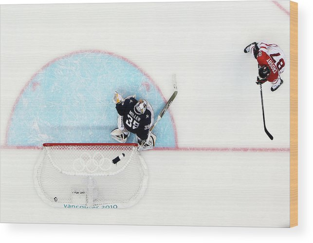 Ryan Miller Wood Print featuring the photograph Ice Hockey - Mens Gold Medal Game - Day by Bruce Bennett
