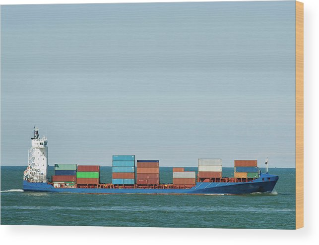 Freight Transportation Wood Print featuring the photograph Industrial Barge Carrying Containers by Mischa Keijser