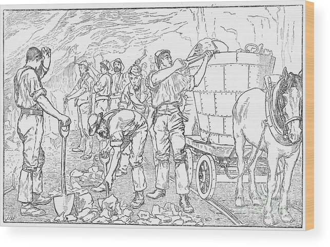 Horse Wood Print featuring the drawing Inside A Cheshire Salt Mine, 1889 by Print Collector