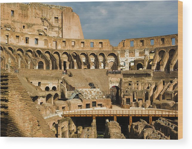 Arch Wood Print featuring the photograph Interior Of The Colosseum, Rome, Italy by Juan Silva