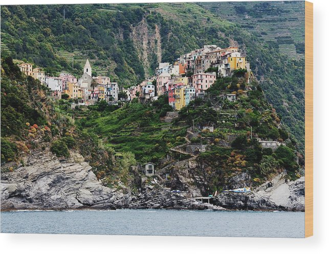 Town Wood Print featuring the photograph Italy, Liguria, Corniglia, View From by Jeremy Woodhouse