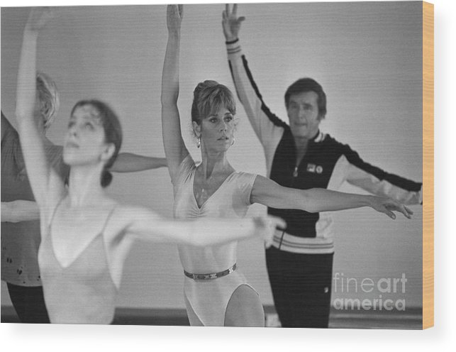 Talkshow Wood Print featuring the photograph Jane Fonda And Mike Douglas Exercising by Bettmann