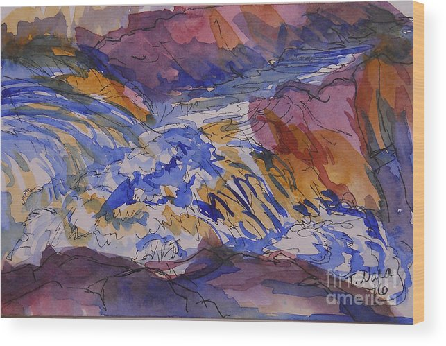 Waterfall Wood Print featuring the painting Jay Cooke Favorite Spot in Purple and Tan by Tammy Nara