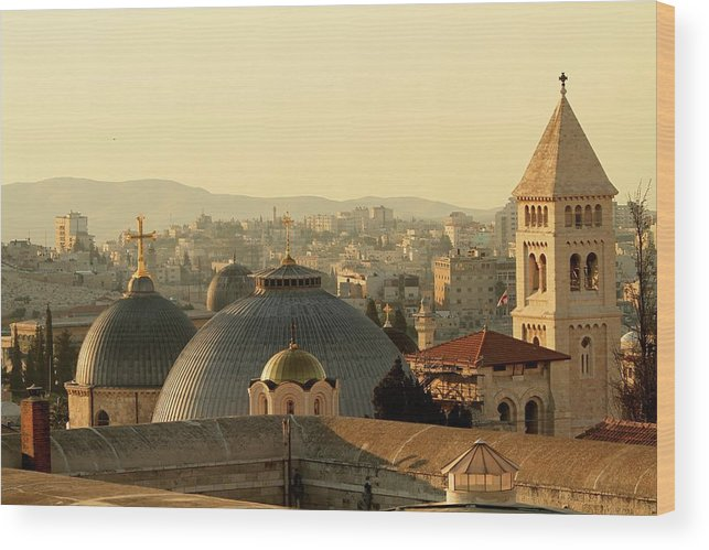 West Bank Wood Print featuring the photograph Jerusalem Churches On The Skyline by Picturejohn