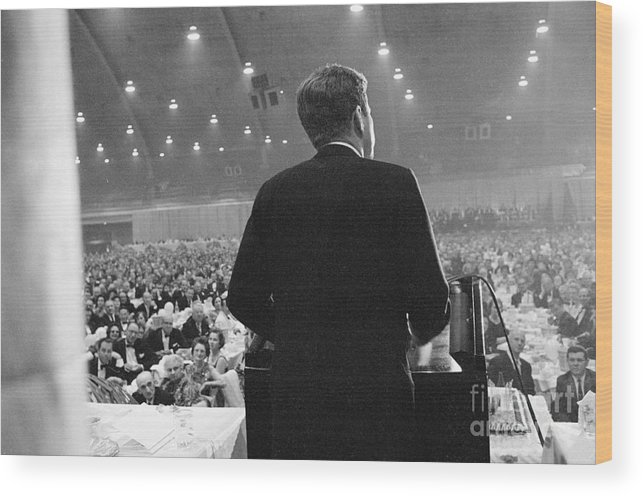People Wood Print featuring the photograph Jfk Speaking At Democratic Fund Raiser by Bettmann
