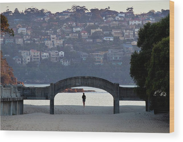 Scenics Wood Print featuring the photograph Jogging On Balmoral Beach by Image By Erik Pronske Photography
