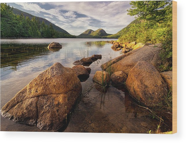 Scenics Wood Print featuring the photograph Jordan Pond Rocks by Www.cfwphotography.com