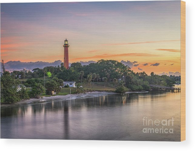 Scenics Wood Print featuring the photograph Jupiter Inlet Light House by Sean Pavone