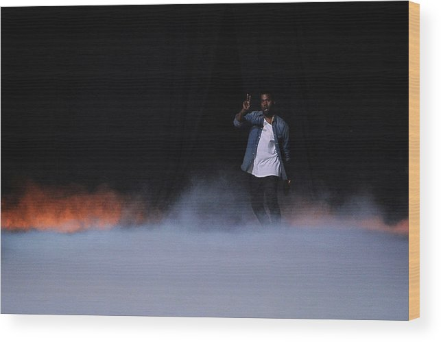 Kanye West - Musician Wood Print featuring the photograph Kanye West Show Runway - Paris Fashion by Pascal Le Segretain