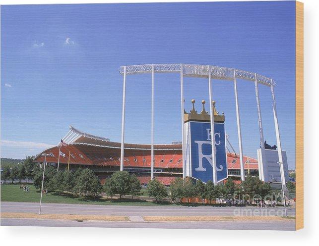 American League Baseball Wood Print featuring the photograph Kauffman Stadium by Stephen Dunn