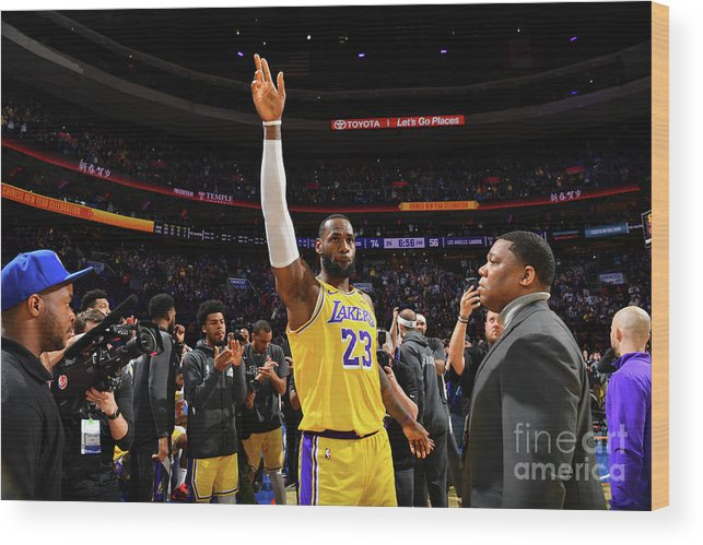 Thank You Wood Print featuring the photograph Kobe Bryant And Lebron James by Jesse D. Garrabrant