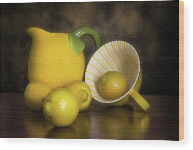 Lemon Wood Print featuring the photograph Lemons With Lemon Shaped Pitcher by Tom Mc Nemar