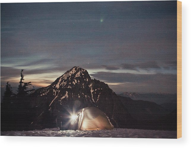 Camping Wood Print featuring the photograph Lit Tent At Night by Christopher Kimmel