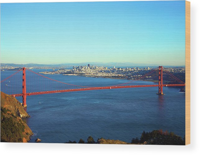 Downtown District Wood Print featuring the photograph Looking Down At The San Francisco Bridge by Ekash