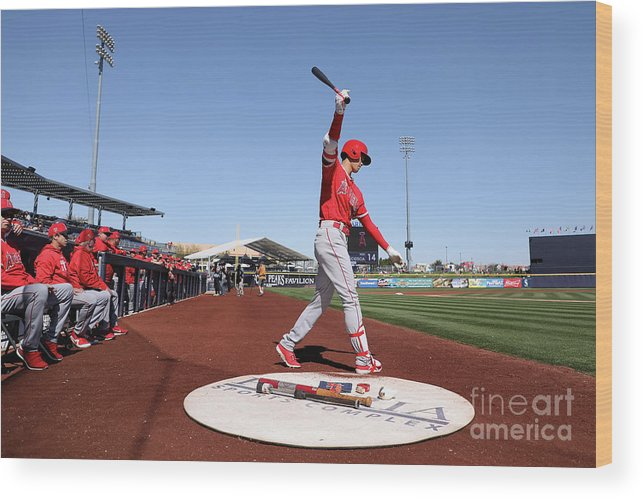 Peoria Sports Complex Wood Print featuring the photograph Los Angeles Angels Of Anaheim V San by Christian Petersen