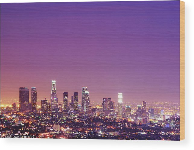 Clear Sky Wood Print featuring the photograph Los Angeles At Dusk by Dj Murdok Photos