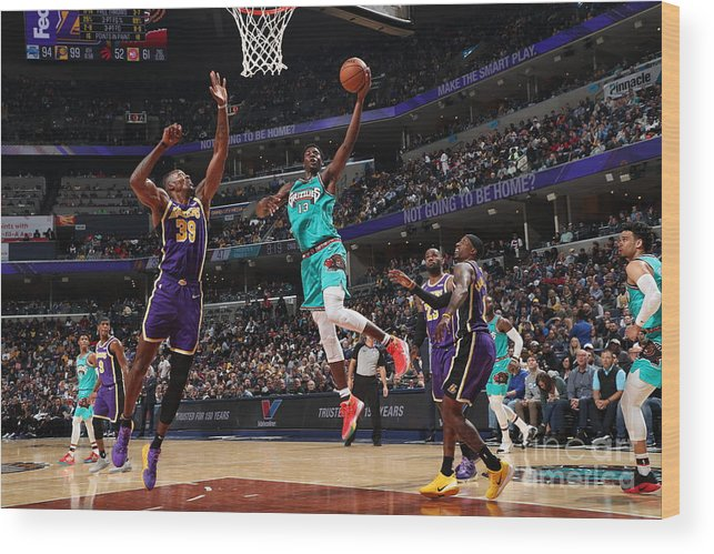 Nba Pro Basketball Wood Print featuring the photograph Los Angeles Lakers V Memphis Grizzlies by Joe Murphy