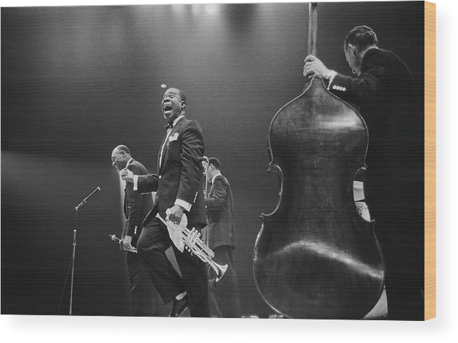 Singer Wood Print featuring the photograph Louis Armstrong On Stage by Haywood Magee
