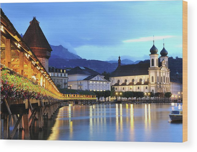 Built Structure Wood Print featuring the photograph Lucerne At Dusk by Aimintang