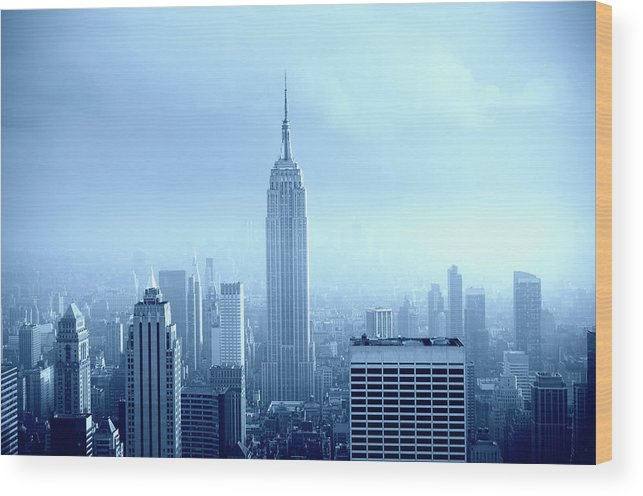 Lower Manhattan Wood Print featuring the photograph Manhattan Skyline In The Fog, Nyc. Blue by Lisa-blue