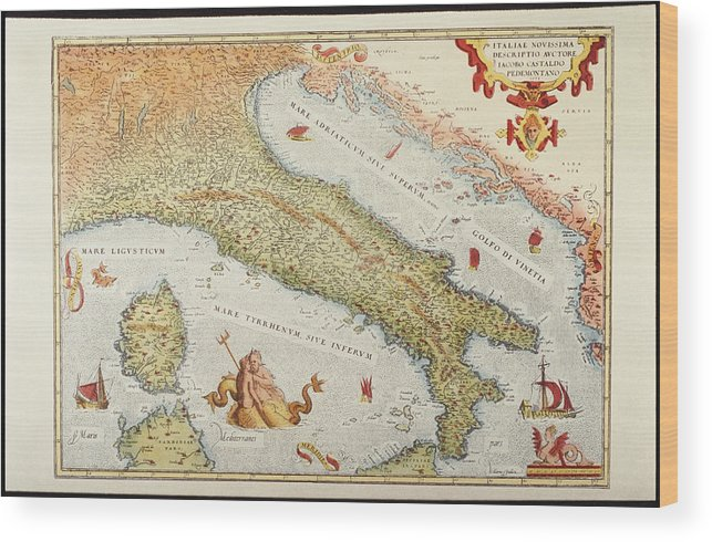 Animal Wood Print featuring the digital art Map Of Italy In 1500 by Fototeca Gilardi