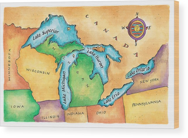 Lake Michigan Wood Print featuring the digital art Map Of The Great Lakes by Jennifer Thermes