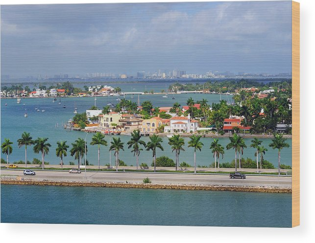 Trading Wood Print featuring the photograph Miami Mac Arthur Causeway En Route To by Jfmdesign