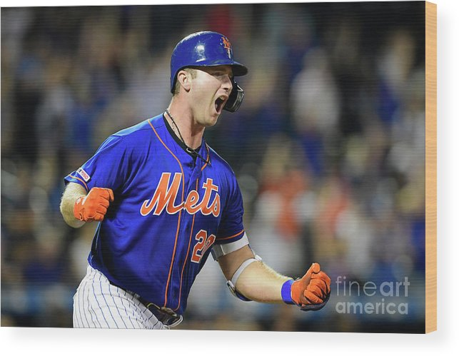 Three Quarter Length Wood Print featuring the photograph Miami Marlins V New York Mets - Game Two by Steven Ryan