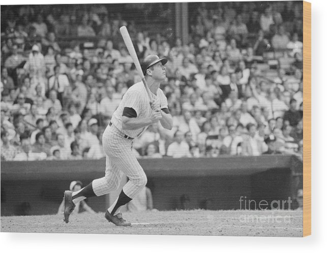 People Wood Print featuring the photograph Mickey Mantle In Action by Bettmann