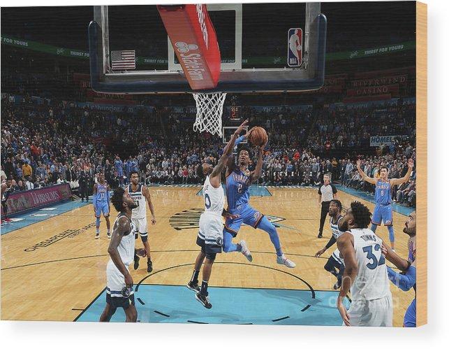 Nba Pro Basketball Wood Print featuring the photograph Minnesota Timberwolves V Oklahoma City by Zach Beeker