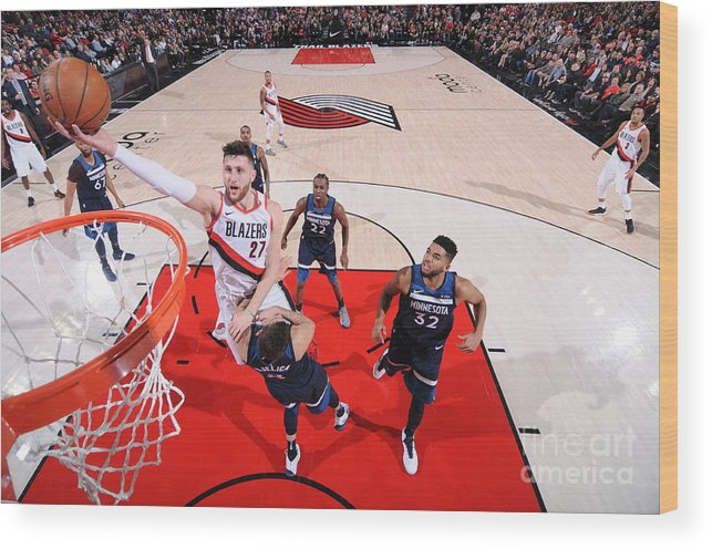 Jusuf Nurkić Wood Print featuring the photograph Minnesota Timberwolves V Portland Trail by Sam Forencich