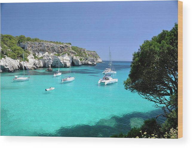 Scenics Wood Print featuring the photograph Minorca, Cala Macarella by Stefano Salvetti